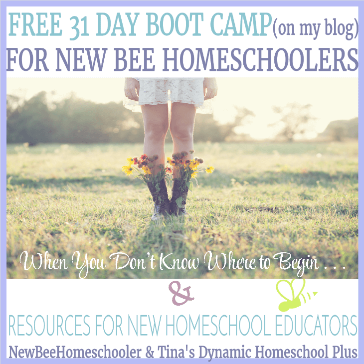 Free 31 Day Boot Camp for New Homeschoolers (on my blog) and resources when you don't know where to begin - let us help you @ Tina's Dynamic Homeschool Plus