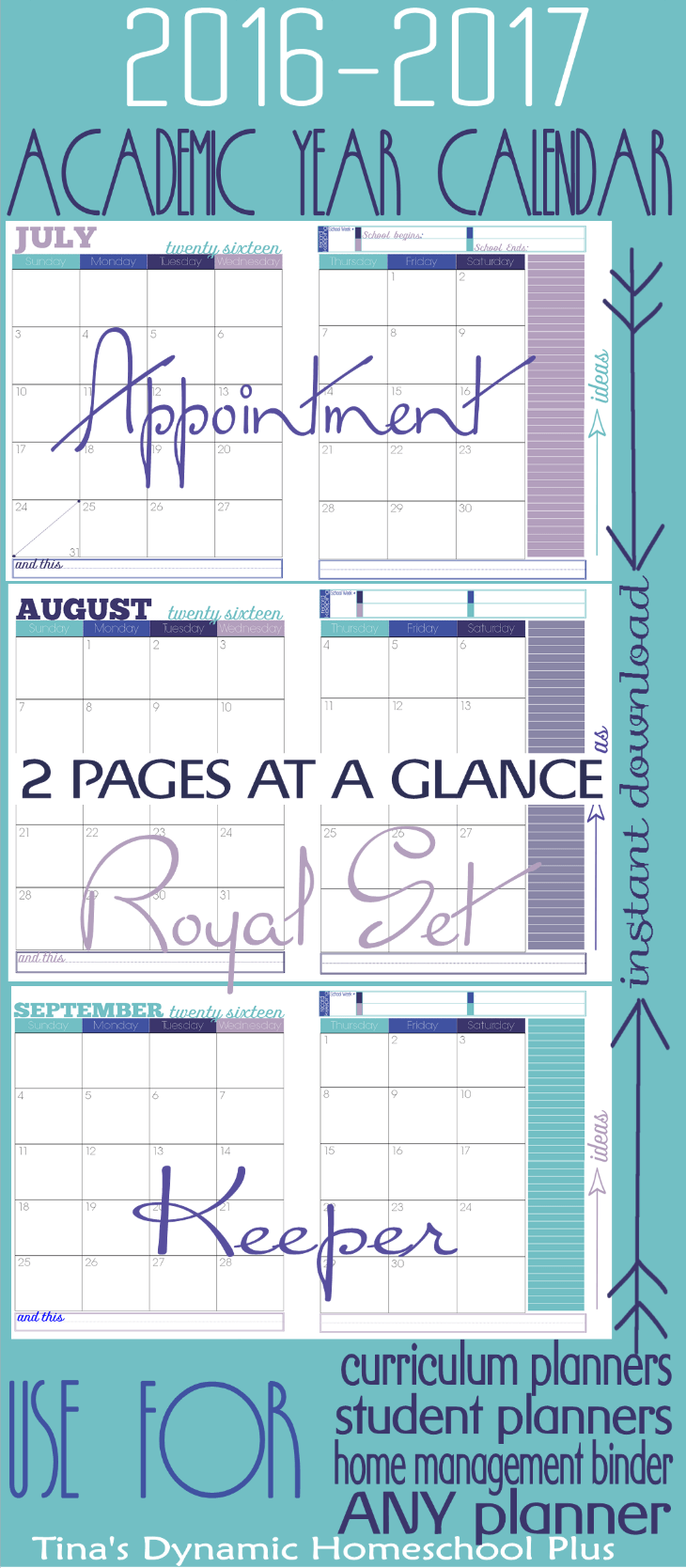 2016 to 2017 Academic Year Royal 2 Pages at a Glance @ Tina's Dynamic Homeschool Plus