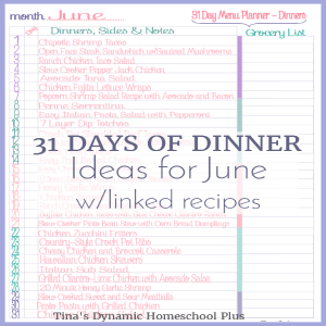 June 31 Days of dinner @ Tina's Dynamic Homeschool Plus featured