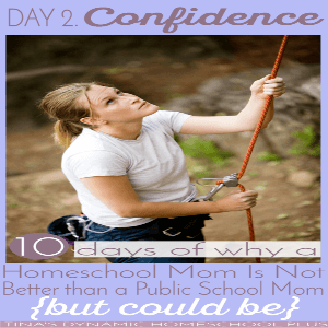10 Days Why A Homeschool Mom Is Not Better Than a Public School Mom (but could be). Day 2  Confidence  300x