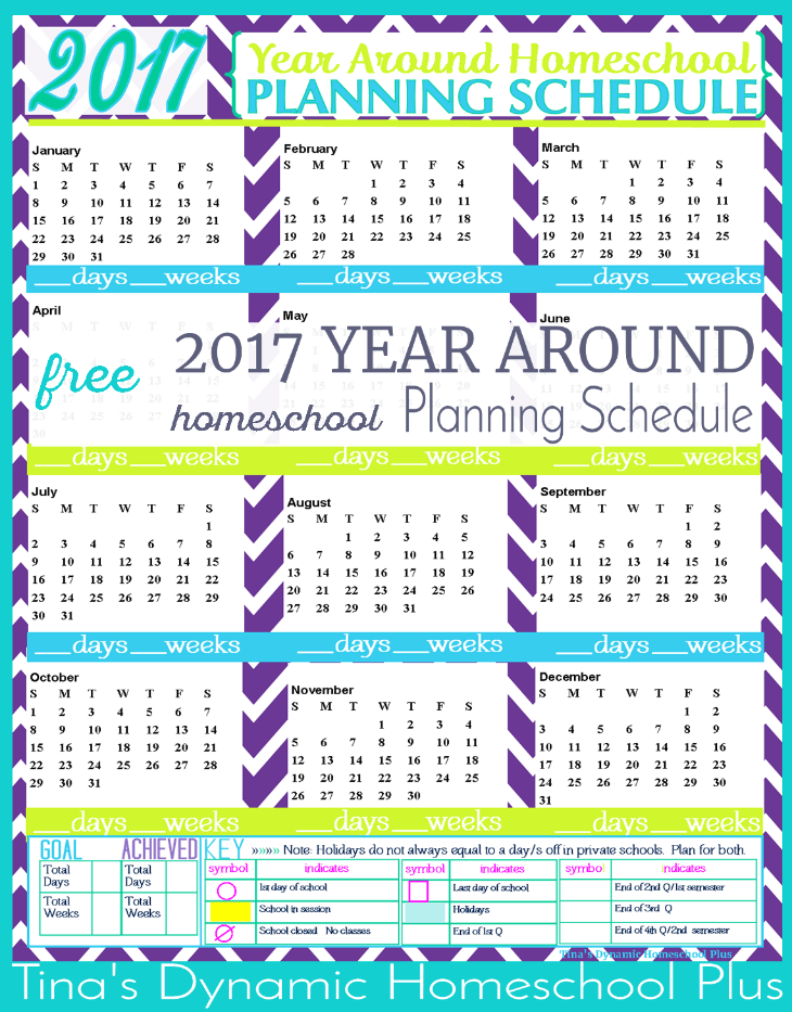 2017 Year Around Planning Schedule Waves @ Tina's Dynamic Homeschool Plus