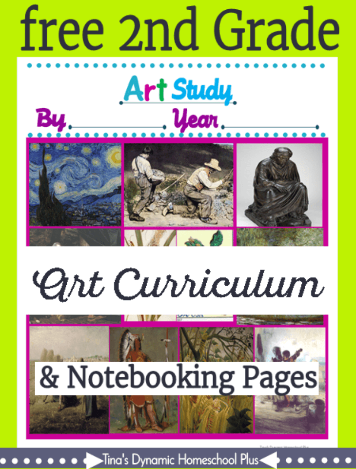 Free 2nd Grade Art Curriculum and notebooking pages. Pssst, there are grades 1 -8 too. Grab them over @ Tina's Dynamic Homeschool Plus