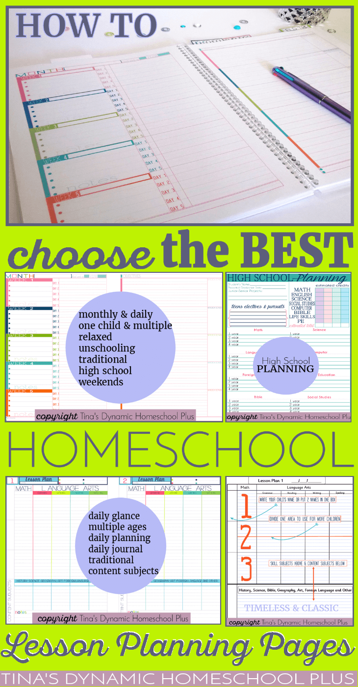 How to Choose the BEST Homeschool Lesson Planning Pages THIS Year @ Tina's Dynamic Homeschool Plus
