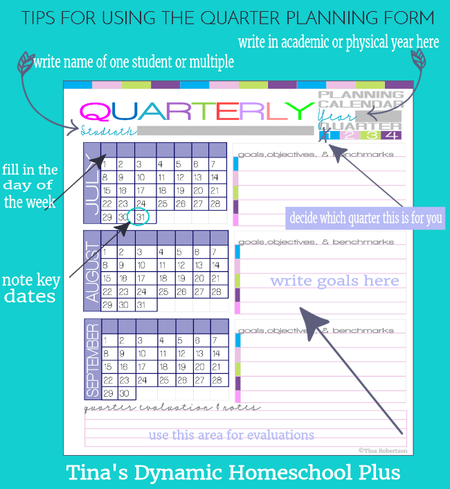 How to Use the Homeschool Quarter Planning Form - Build Your UNIQUE 7 Step Planner @ Tina's Dynamic Homeschool Plus