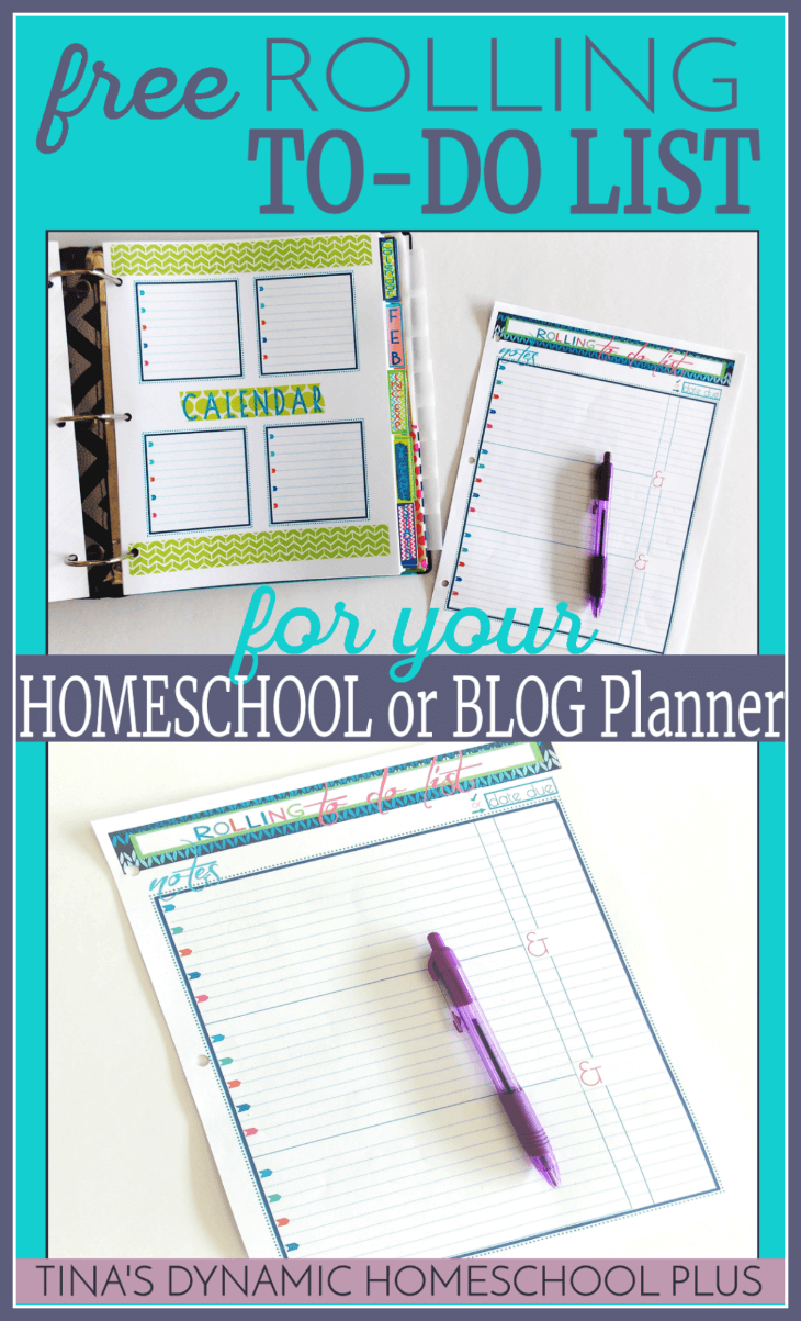 Free Rolling To-Do List (for your Homeschool or Blog Planner) @ Tina's Dynamic Homeschool Plus