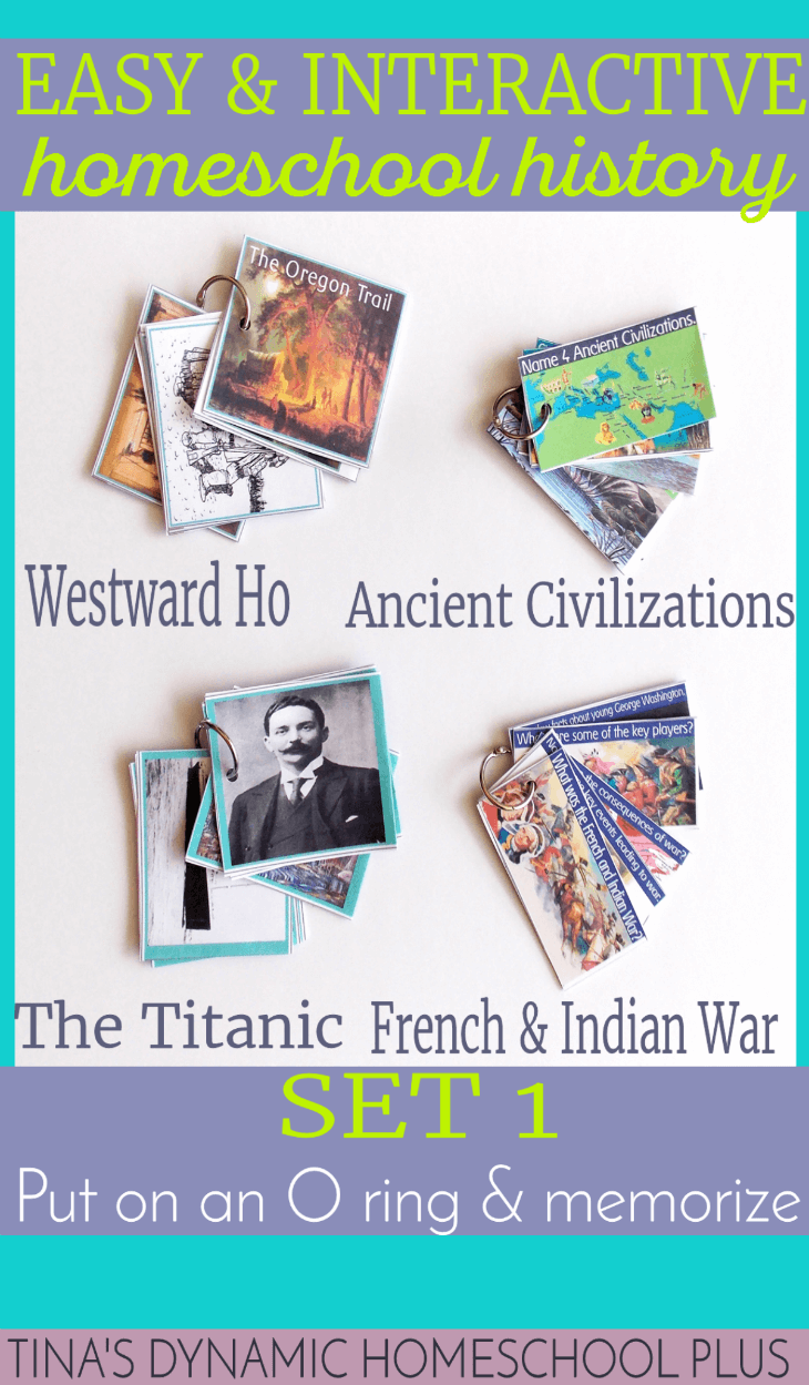 Free History Cards. Put on an O ring and learn facts about Ancient Civilizations, Westward Ho, the Titanic and the French and Indian War. Grab them @ Tina's Dynamic Homeschool Plus