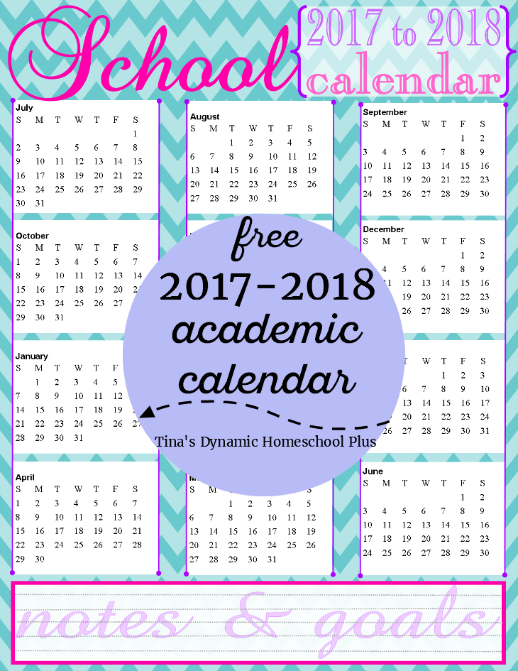 Serene Color Choice. Grab your free 2017 to 2018 Academic Year Calendar @ Tina's Dynamic Homeschool Plus