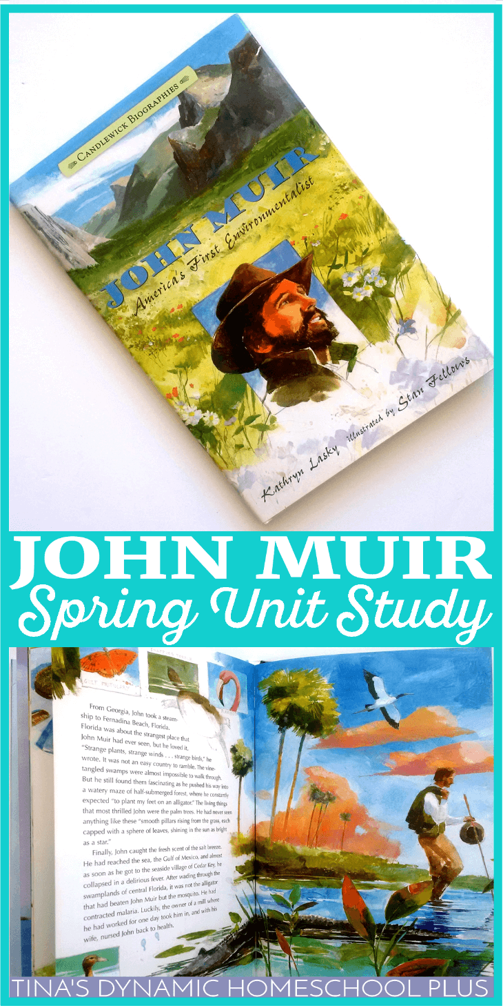 John Muir Spring Homeschool Unit Study. Include all of your children by doing this free hands-on spring homeschool unit study to kick off spring while learning about John Muir's love for the great outdoors. Click here to grab it! | Tina's Dynamic Homeschool Plus