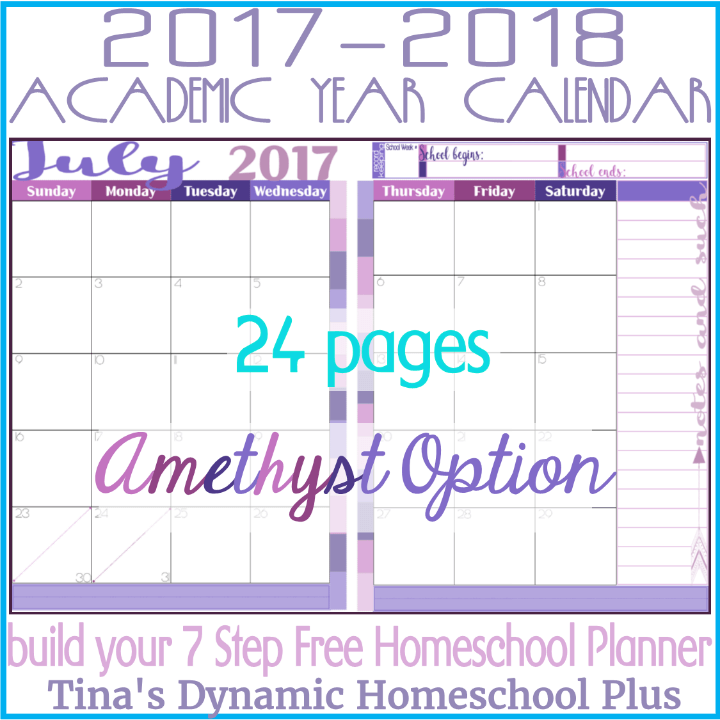 Grab this beautiful and in color 2 page per month academic calendar. You get ALL 12 months. It's academic because it begins in July when you begin homeschool planning. And it has 12 months if you're like me and plan year around. You'll love this Amethyst color option. Use it to begin building your 7 Step Free Homeschool Planner. Click here to grab it!