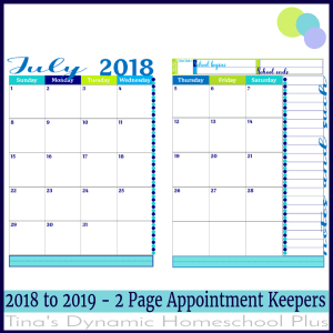 2018-2019 Academic Calendar – 2 Pages Per Month (Tide Pool)