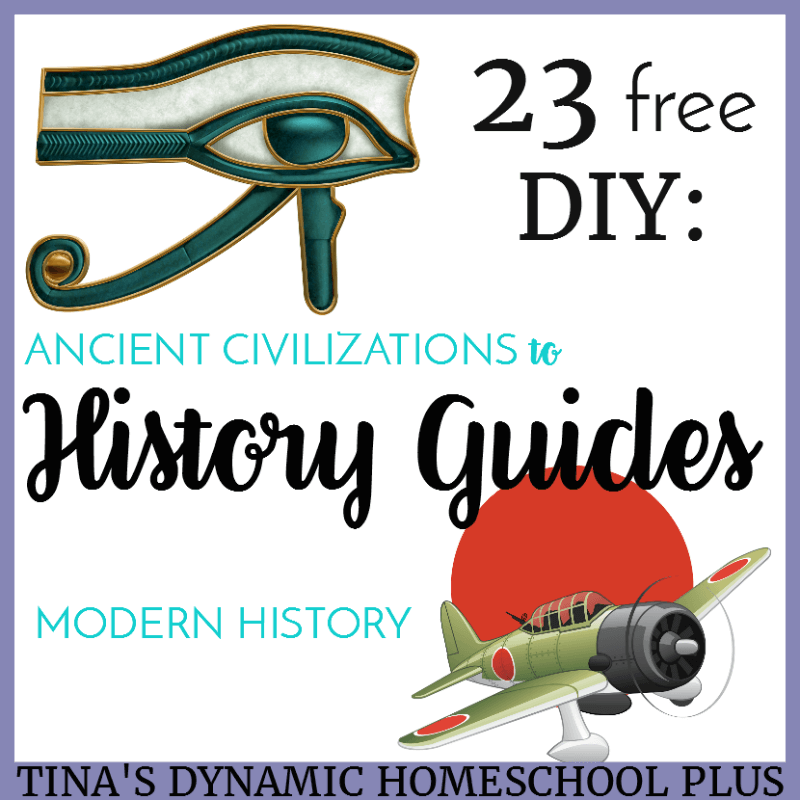 23 free DIY History Guides from Ancient Civilization to Modern History. Unlike skill subjects which require a certain sequence of objectives to follow, a content subject like history does not. Creating diy history guides become a way of hooking your kids on history because the focus is on topics which interests them.Click here to grab the guides!