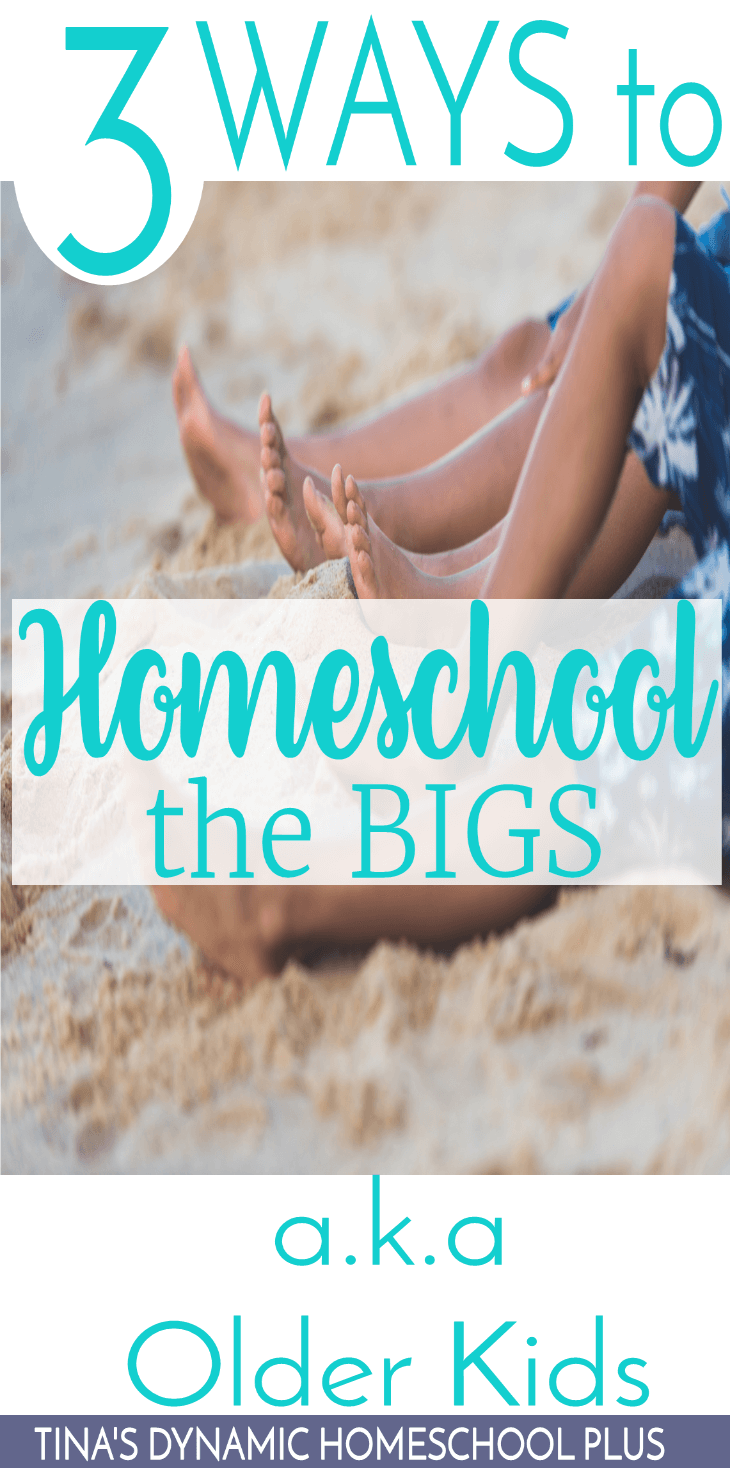 3 Ways to Homeschool the BIGS (a.k.a. Older Kids). Don't give up some of the ways you taught your kids when they were young. Just add some new ways. Click here for the sanity-saving tips!