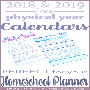 2018 & 2019 Free Calendars (Add to your Printable Homeschool Planner)