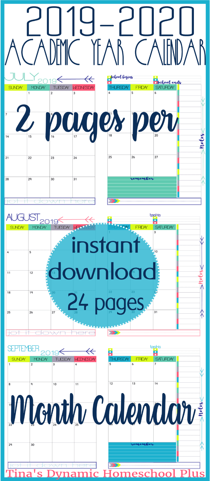 You'll love this AWESOME color choice for a homeschool planner, student planner, or home management binder. It is an academic calendar BUT it has 12 months. Grab it today and use in all of your planners! Click here to get it!