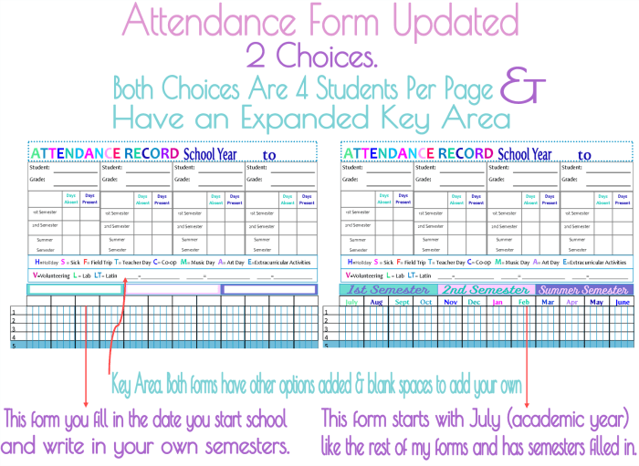 Attendance Form Homeschool Planner Updated