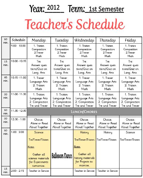 Calendar Reform Ideas : Teachers schedule example tina s dynamic