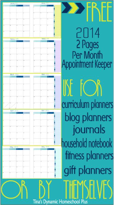 Free 2014 2 Page Calendar Spread CP @ Tina's Dynamic Homeschool Plus