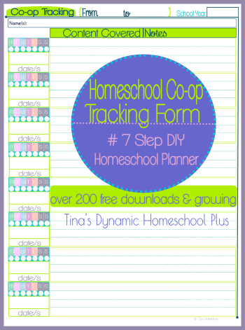 Homeschool Co-op Tracking Form 350x @ Tiina's Dynamic Homeschool Plus