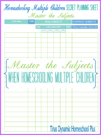 Homeschooling Multiple Children Secret Planning Sheet 350x @ Tinas Dynamic Homeschool Plus