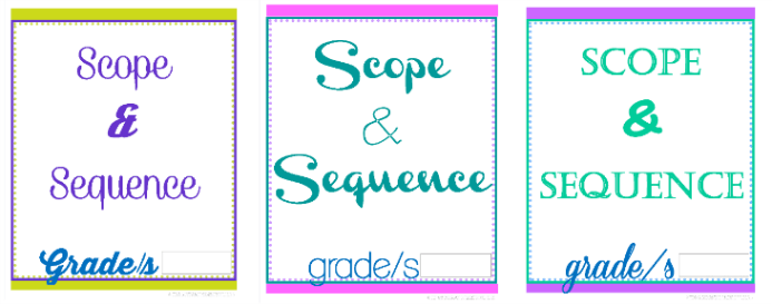 Scope and Sequence Divider Pages 231x each @ Tina's Dynamic Homeschool Plus