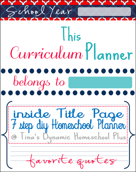 Homeschool Planner Inside title page