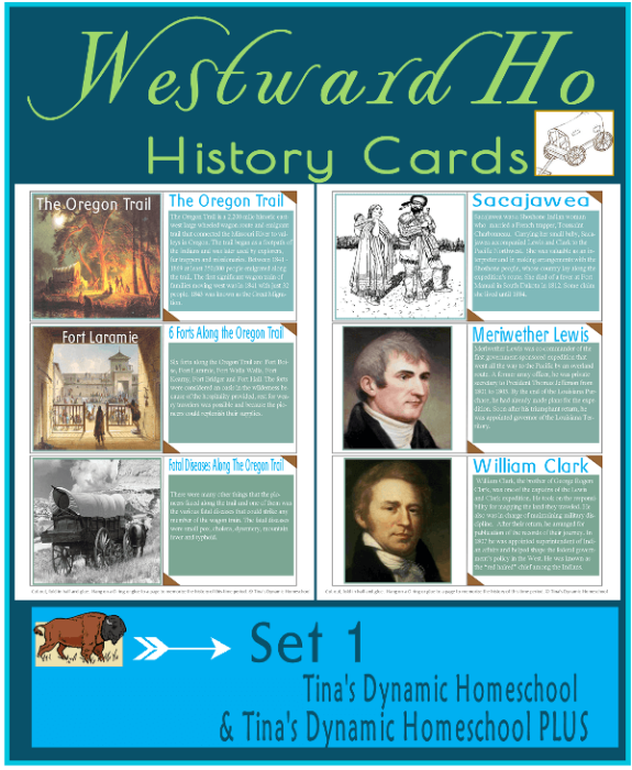 Westward Ho History Cards. Grab these free AWESOME Westward Ho History printables and put on an O ring for fun. Grab them at Tina's Dynamic Homeschool Plus.