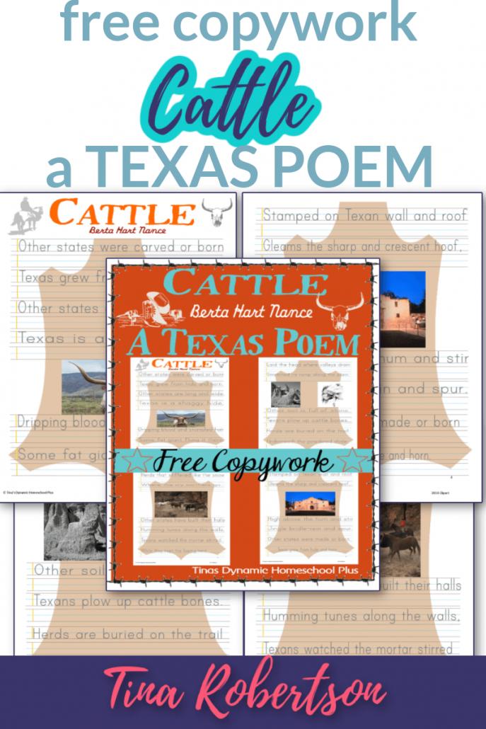 Free Copywork Cattle A Texas Poem For a Fun Unit Study