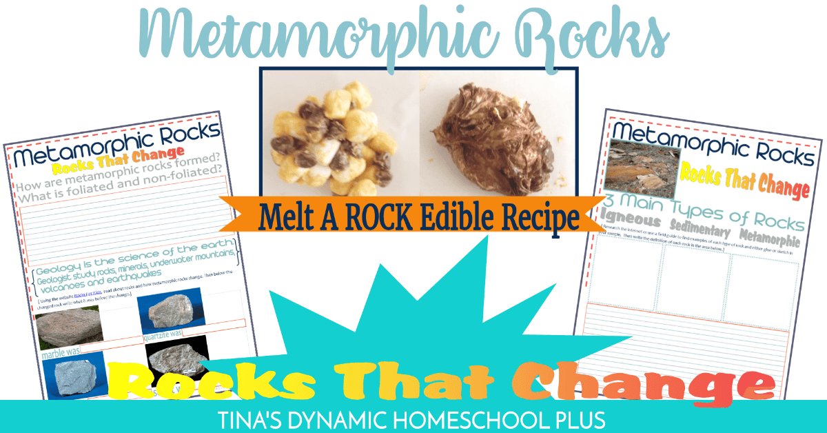 Metamorphic Edible Rock Recipe and Free Notebooking Pages