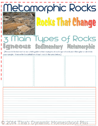 Metamorphic Rocks Notebooking Pages 1