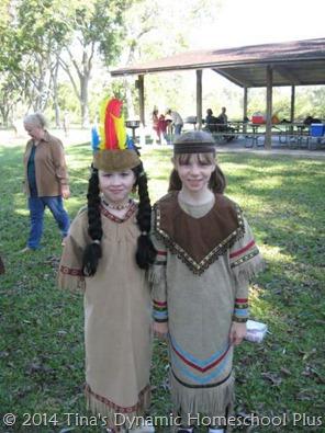 Westward Ho! dress-up field trip - 2 little Indian girls