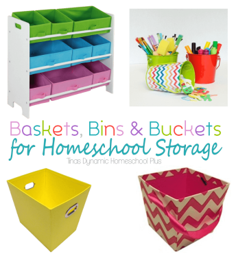 Baskets Bins And Buckets For Homeschool Storage