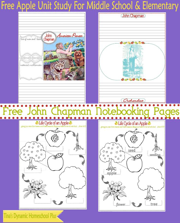 John Chapman Free Notebooking Pages @ Tina's Dynamic Homeschool Plus