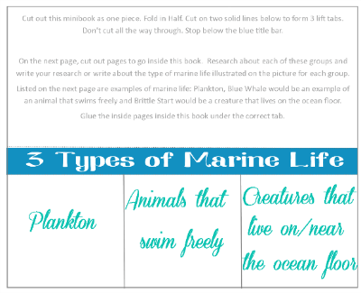 Marine Life Minibook @ Tina's Dynamic Homeschool Plus