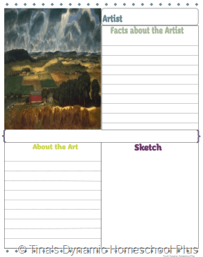 3rd grade Artist Study Packet 1 with 3 text and 1 sketch box 2