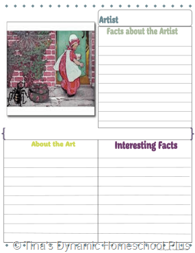 3rd grade Artist Study Packet 1 with 4 text boxes 2