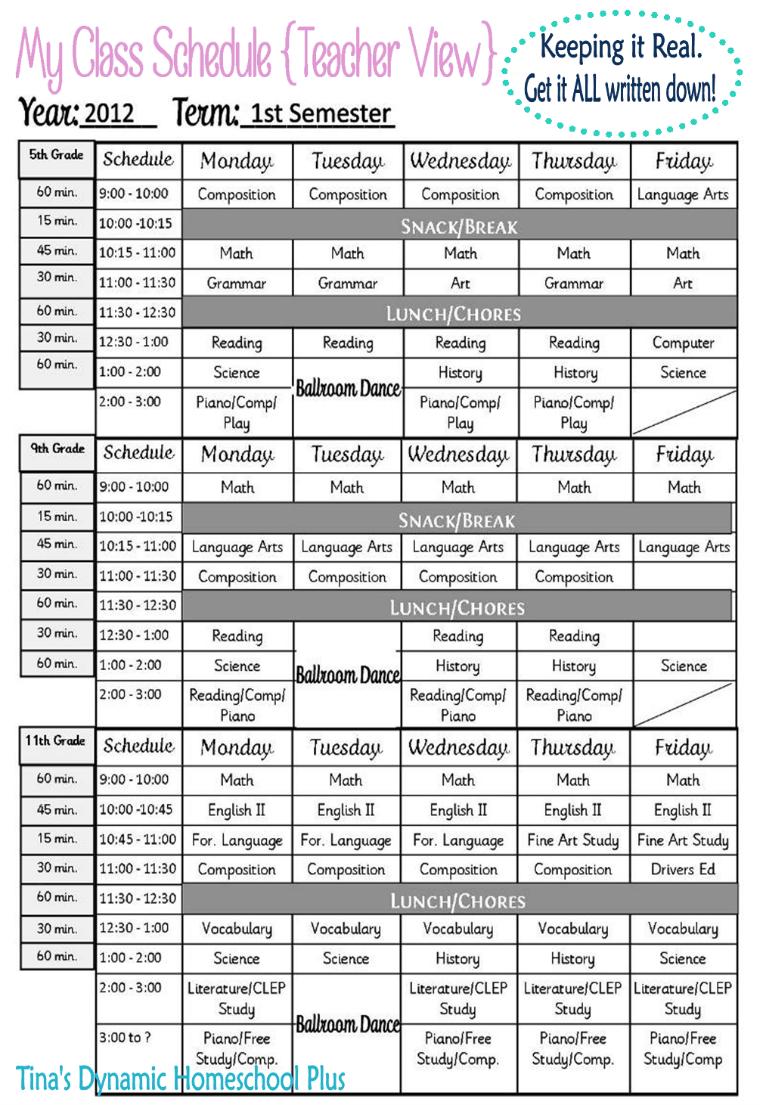Homeschool Class Schedule