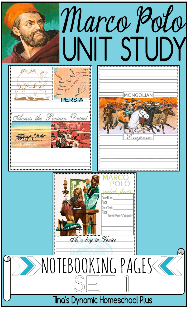 Free Marco Polo Notebooking Pages for a homeschool unit study.