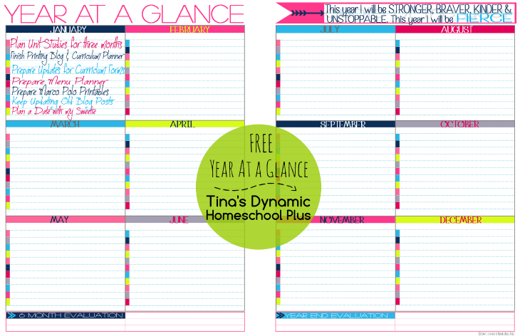 Year At a Glance Planning Tina's @ Tina's Dynamic Homeschool Plus