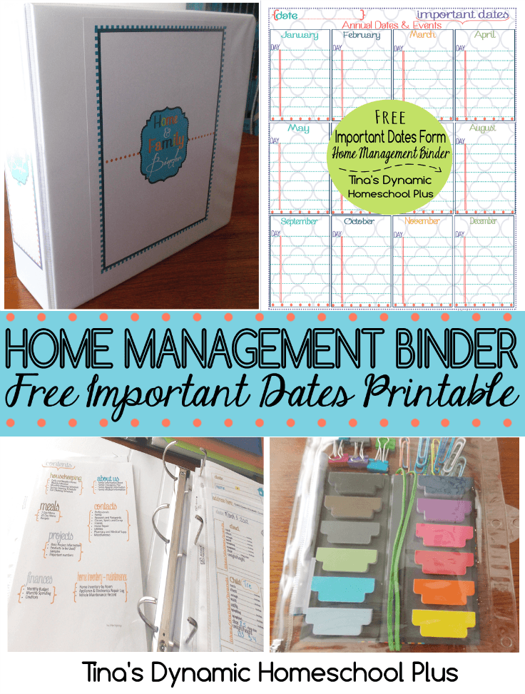 Home Management Binder amd Free Important Dates Printables @ Tina's Dynamic Homeschool Plus