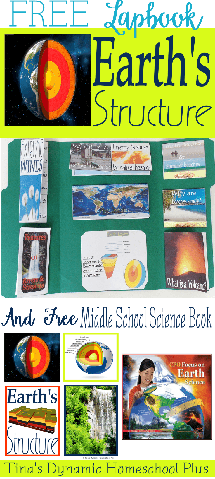 Free Earth Structure Lapbook & Middle School Science Book @ Tina's Dynamic Homeschool Plus