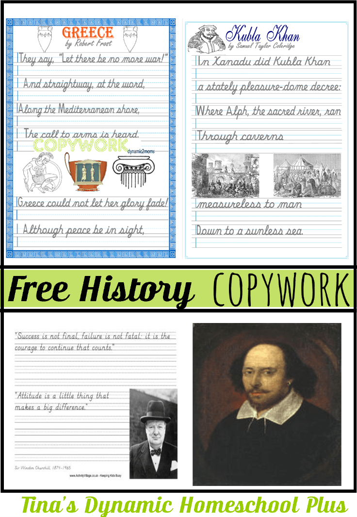 Free History Copywork. A roundup of history resources you'll love. Click here to download the free copywork @ Tina's Dynamic Homeschool Plus