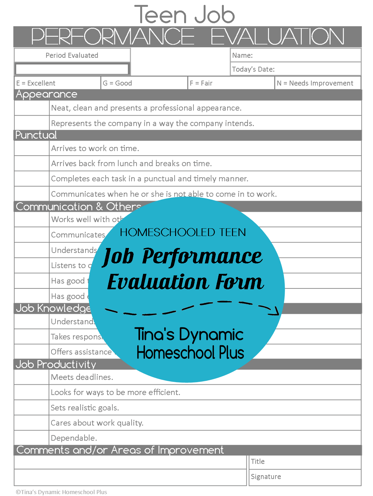 Homeschooled Teen Job Performance Evaluation Form – Performance Evaluation Form