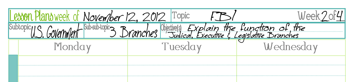 4a Lesson Planning Pages subjects filled in 1