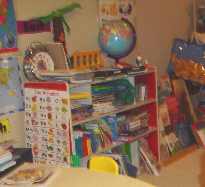 Cutesy Bookshelves for early homeschool room @ Tina's Dynamic Homeschool Plus