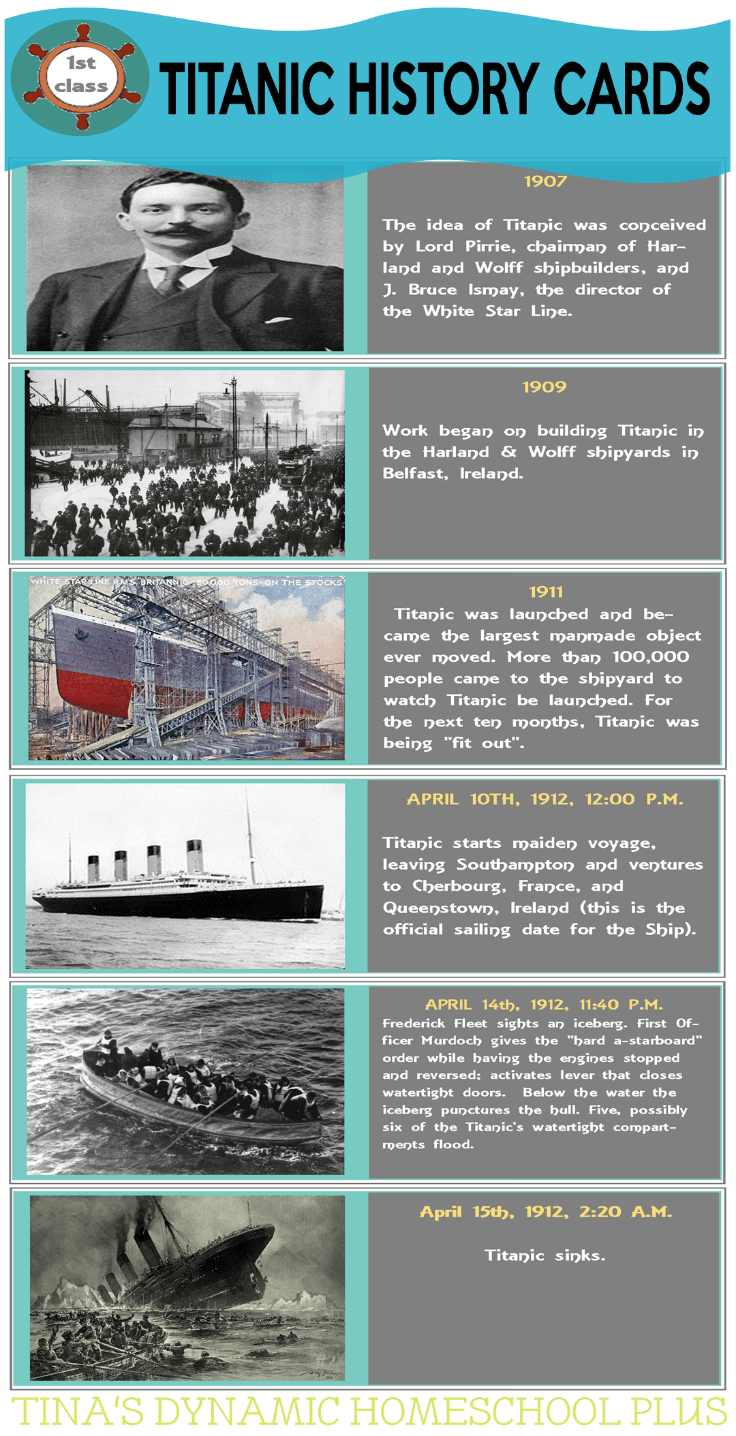 History Cards Sinking of Titanic @ Tina's Dynamic Homeschool Plus