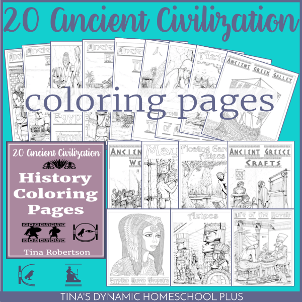 20 Ancient Civilization History Coloring Pages at Tina's Dynamic Homeschool Plus. You'll love adding these to your unit studies or notebooking.