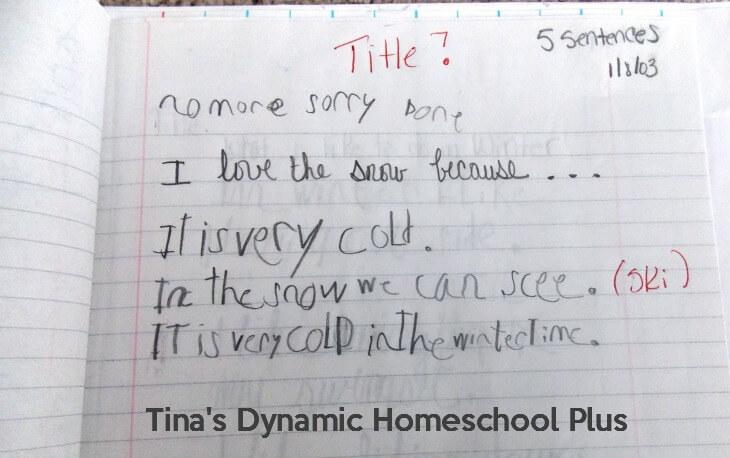 Homeschool Writing in Early Grades @ Tina's Dynamic Homeschool Plus