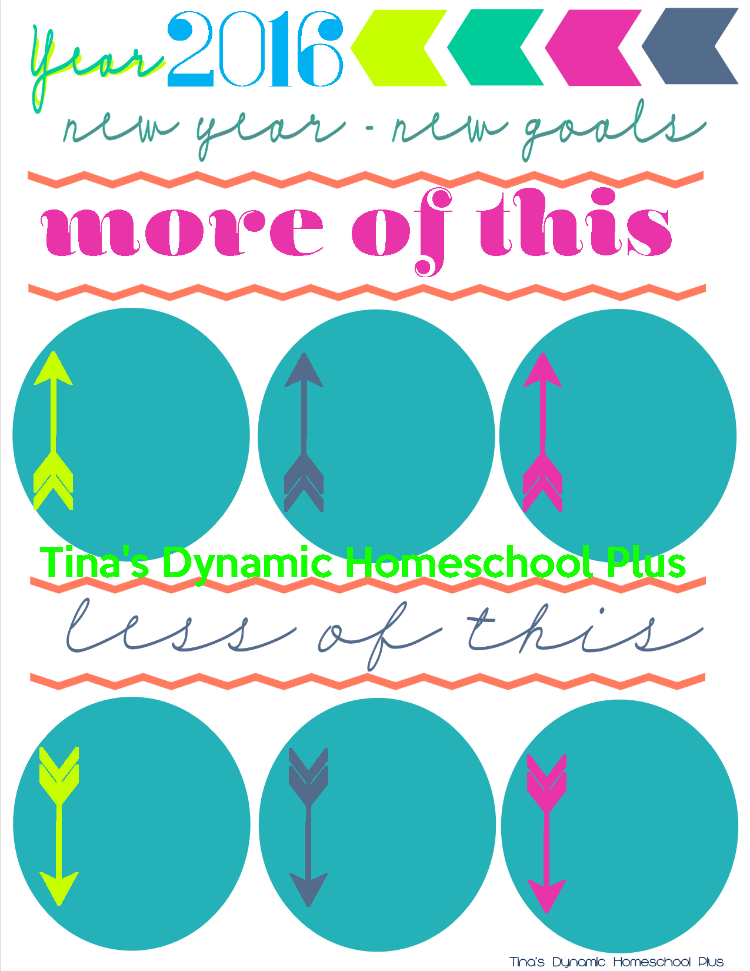 2016 New Year New Goals Printable @ Tina's Dynamic Homeschool Plus