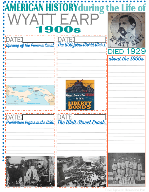 Notebooking Pages - American History through the Life of Wyatt Earp @ Tina's Dynamic Homeschool Plus 2