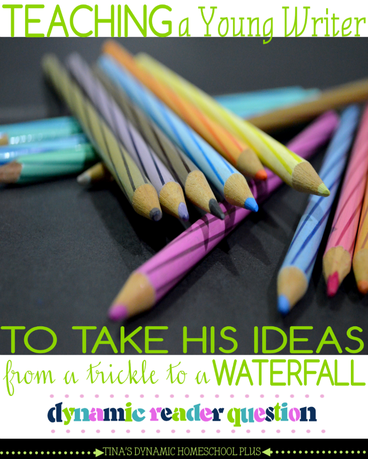 Homeschool Tips for Teaching a Young Writer to Take His Ideas from a Trickle to a Waterfall @ Tina's Dynamic Homeschool Plus